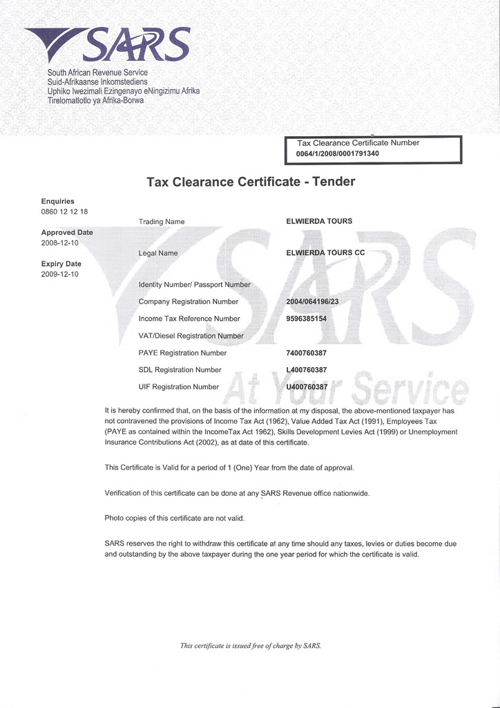 sars tax clearance certificate pdf
